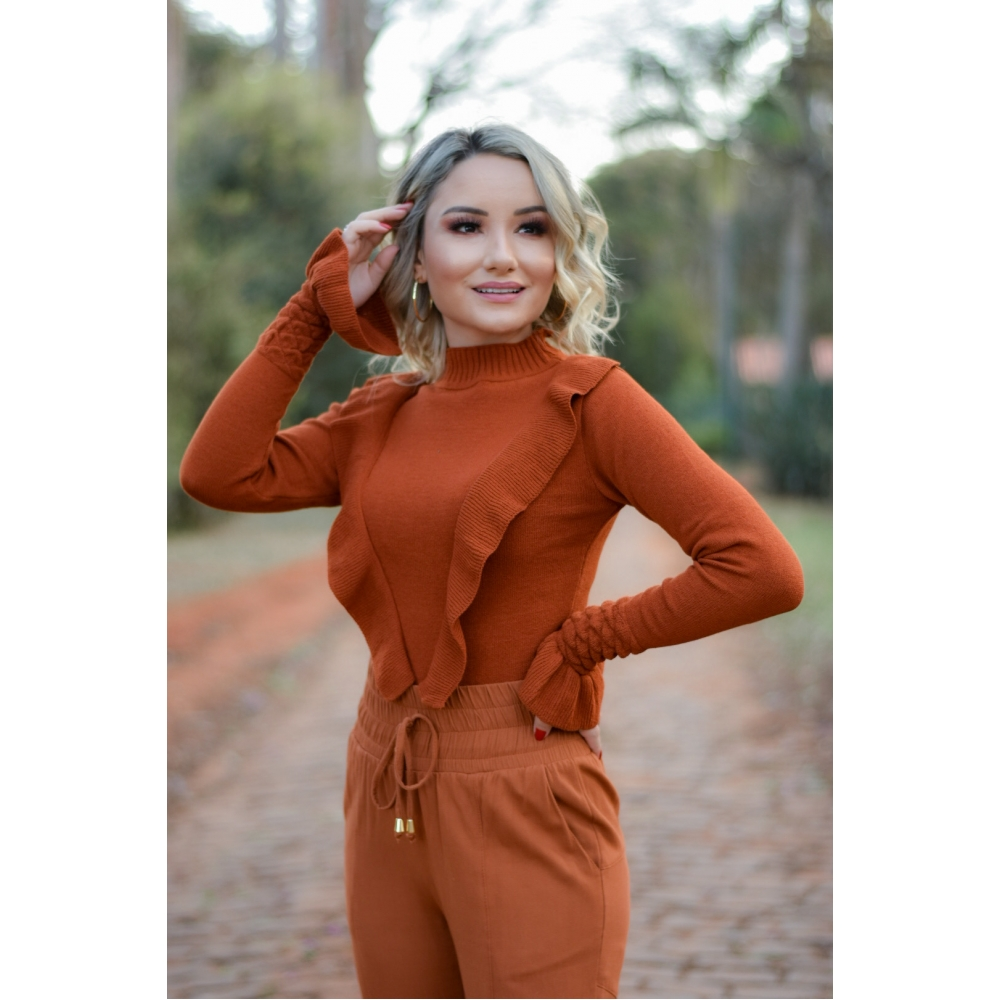 BLUSA TRICOT BABADOS - Terracota